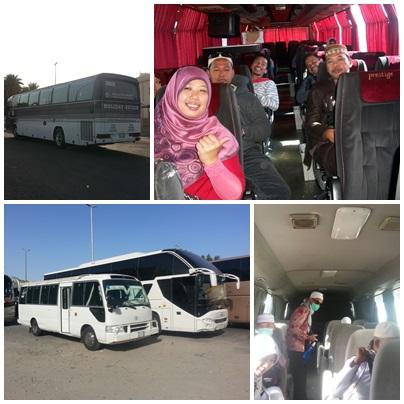 foto bagian atas: bus kapasitas 52 orang yang digunakan dari jeddah menuju madinah, city tour madinah, madinah menuju makkah. Foto bagian bawah: bus (yang kecil) digunakan untuk city tour makkah dan dari makkah menuju bandara